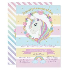 Shop Unicorn Birthday Invitation created by YourMainEvent. Unicorn Birthday Invitations, Unicorn Birthday Parties, Birthday Balloons, Unicorn Party, Girl Birthday, Rainbow Unicorn, Happy Birthday Messages, Birthday Cards, Party Props