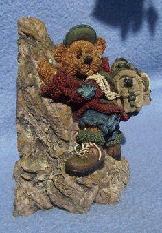 guy ROCK MOUNTAIN CLIMBING figurine Boyds Bear SIR EDMUND PERSISTENCE keep tryin