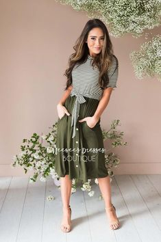 Olive Striped Tie Waist Mommy and Me Modest Dress - Fashion Trends Dresses Elegant, Casual Dresses, Maxi Dresses, Romantic Dresses, Summer Dresses, Club Dresses, Simple Dresses, Formal Dresses, Wedding Dresses