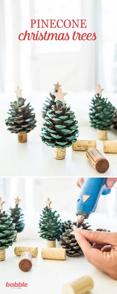 Spread some holiday cheer and decorate your home with these DIY Pinecone Christmas Trees. Create your own mini pinecone trees with spray paint and wine corks. Set up a little pine tree forest on the m (Diy Ornaments)