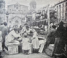 Bilbao, Arenal walk, fair bacons, 1903. The church fund San Nicolás.