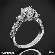 Verragio Twisted Shank 3 Stone Engagement Ring