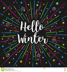 Hello Winter Text Color Sunburst.Vector Lettering Card