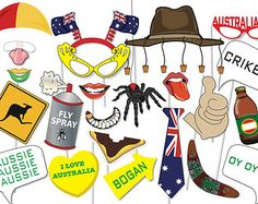 Great Australia Day Photo booth Party Props Set by TheQuirkyQuail Australian Party, Australian Flags, Aussie Christmas, Christmas Humor, Photo Booth Party Props, Photo Booths, Australia Day Celebrations, Aus Day, Happy Australia Day