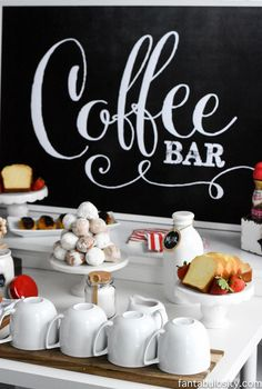 Adorable Chalkboard Signage to set up a sophisticated Coffee Bar for parties, weddings, showers, reunions, and more! Photo Credits belong to Jessica Burgess of Fantabulosity and more details of the adorable Coffee Bar set up can be found here: Coffee Bar Party, Coffee Bar Signs, Coffee Bar Wedding, Restaurant Interior Design, Modern Restaurant, Interior Shop, Cafe Bar, Coffee Heart, Coffee Coffee