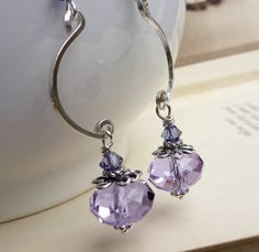 Lavender lilac purple earrings, long sterling silver crystal jewelry