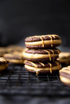 Dark Chocolate Peanut Butter Sandwich Cookies   Broma Bakery