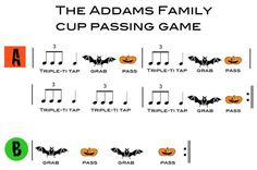 Cup Passing Game to the Addams Family Theme Song. Do this with my younger grades while learns The Cup Game. Elementary Music Lessons, Elementary Schools, Home Music, Middle School Music, Halloween Music, Spooky Music, Music Activities, Music Games, Music Math