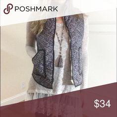 HP Padded Tweed Print Vest Lightweight Tweed Print. Padded Design Vest with Lightweight Material. Pattern is black & white. Herringbone design very similar to Jcrew. Jackets & Coats Vests