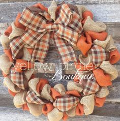 Burlap Wreath Fall Wreath Autumn Wreath by YellowBirdieBoutique