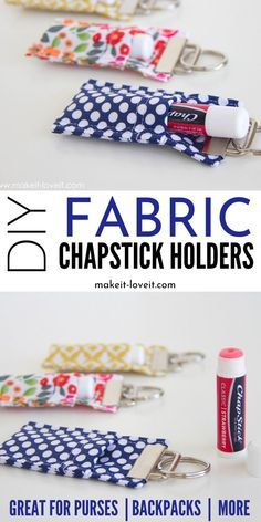 A super easy DIY fabric Chapstick Holders craft! These are great to hang on your purse, backpack and more. Keep your lips hydrated this winter with this easy sewing project. # sewing projects for beginners to sell DIY Fabric Chapstick Holder Fabric Crafts, Sewing Crafts, Sewing Tips, Sewing Hacks, Sewing Tutorials, Sewing Patterns, Scrap Fabric, Diy Tumblr, Diy Couture