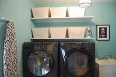 Damask & blue - would love to find the right shade of blue to make a peaceful laundry space.