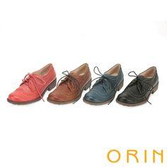 2180- 英倫街頭時尚 經典雕花牛皮綁帶牛津鞋-藍色 - 90黑80/90棕60紅80/90---3.5cm