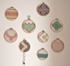 Embroidery Hoop from vintage linens - I have a couple of friends who have done this with MUCH cuter results