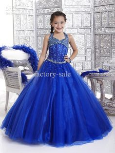 Wholesale Formal Dresses - Buy 2013 Royal Blue Halter Tulle Ball Gown Girl's Pageant Dresses Princess Flower Girl Dresses PT33427, $76.3 | DHgate
