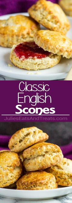 Classic English Scones - These deliciously fluffy scones are perfect served warm or cold with clotted cream and jam. Pair with your morning cup of tea for an indulgent breakfast! via @julieseats