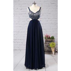 Dark Navy A Line V Neck Lace Chiffon Floor Length Beading Long Prom... ($139) ❤ liked on Polyvore featuring dresses, gowns, lace gown, long gown, long lace gown, long chiffon dress and long beaded gown