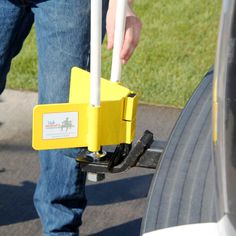 Never Miss Hitch System.  This is fabulous.  I have one and it makes hitching a trailer so much easier for us single gals!