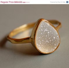 White Agate Druzy - Teardrop Shape - Stacking Ring