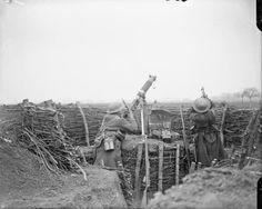 FIRST WORLD WAR 1914 1918 WESTERN FRONT BATTLE LYS (Q 6588) Battles of the Lys. Men of the M.G.C, firing a machine gun at a German aeroplane. Hear Haverskerque, 1 May, 1918