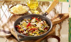 Zucchini-Aubergine-Mais-Pfanne mit Zartweizen