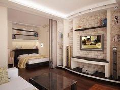 Основное внимание дизайнер делил оформлению стен и перегородок, что делает маленькую квартиру интересной и позволяет правильно оформить спал...