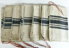 Your place to buy and sell all things handmade Small Pillow Covers, Small Pillows, Pillow Cases, Shoe Molding, Grain Sack, Sacks, How To Antique Wood, Striped Linen, Hand Spinning