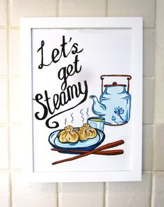 Dim Sum Food Print, Kitchen Decor Poster, Vintage Style Hand Lettering, Funny…