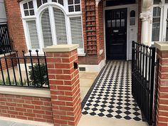 Victorian Classic Mosaic black and white red brick wall metal gate rails paving London Clapham Balham Wandsworth Victorian Front Garden, Victorian Terrace House, Edwardian House, Victorian Homes, Front Path, Front Fence, House Front Door, House Entrance, Terrace House Exterior