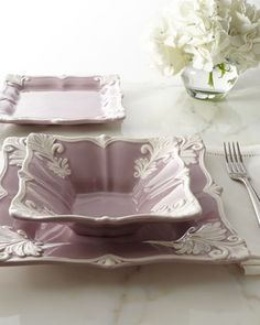 12-Piece Purple Square Baroque Dinnerware Service at Horchow.