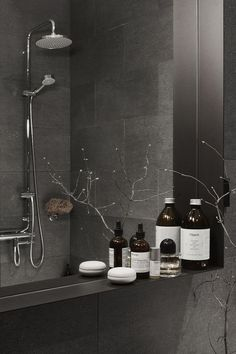 Dark grey bathroom design