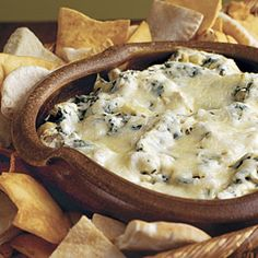Super Bowl Appetizers | Baked Spinach-and-Artichoke Dip | SouthernLiving.com