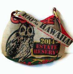 Owl Burlap Hobo Handbag. Repurposed Kauai USA Coffee Bag. Handmade in Hawaii.