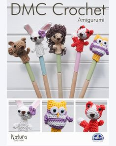 DMC Woodland Animal Finger Puppets Amigurumi Crochet Pattern (Squirrel, Hedgehog, Fox, Bunny and Owl) Designed by Liz Ward Level: Intermediate Finished sizes: 4 x x approx This is for the pattern only. Crochet Gifts, Cute Crochet, Crochet Dolls, Crochet Yarn, Cotton Crochet Patterns, Finger Puppet Patterns, Diy Y Manualidades, Pencil Toppers, Crochet Animals
