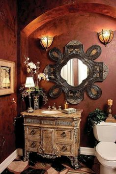 Tuscan decor – Mediterranean Home Decor Tuscan Design, Tuscan Style, Tuscan Bathroom, Tuscany Decor, Mediterranean House Plans, Powder Room Design, Tuscan Decorating, Beautiful Bathrooms, Dream Bathrooms