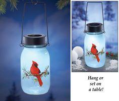 Solar Hanging Holiday Cardinal Jar