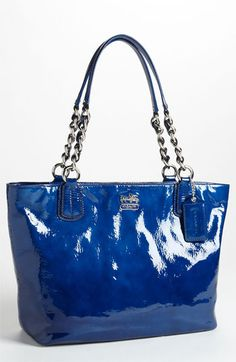 COACH 'Madison' Patent Leather Tote available at #Nordstrom ...I need this....it's FALCON BLUE!!