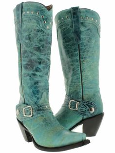 COWGIRL STYLE BOOTS Silver Studded Accent Buckle Tall Distressed Aqua GENUINE Leather SEXY RODEO Western Boots
