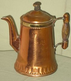 Antique Copper Coffee Pot w Brass Wood Handle Finial Rochester Stamping Works | eBay: