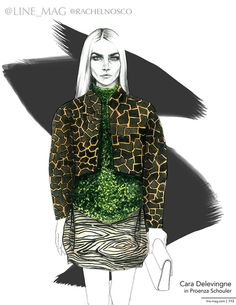 """""""Line's Dream Team"""": Cara Delevingne in Proenza Schouler illustrated by @rrrrach  for Line Magazine Fall 2014"""