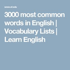 3000 most common words in English | Vocabulary Lists | Learn English