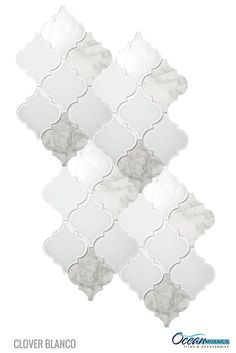 Crisp white frosted and clear glass tile and marble entwined in this arabesque Moroccan tile. Makes a divine arabesque backsplash! Clover Arabesque Blanco Mosaic Glass Tile | arabesque tile backsplash
