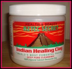 Aztec Indian Healing Clay {mix with equal parts organic apple cider vinegar, mix into a paste, slather onto face (seriously... thicker is better), wait 20 minutes, rinse} 2x a week for clear/radiant skin!  Just started it.... will let you know if it works!  {EDITED the next day:  IT WORKS!  Like... better than anything I've ever tried.  No joke.  Scars are visibly light, healed the open sores overnight and no new breakouts - I'm hooked}