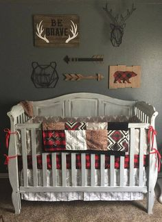 Etsy Woodland Boy Crib Bedding Gray Buck Deer Skin Minky White Arrow Rustic Baby