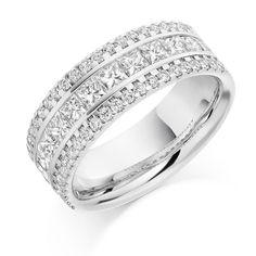 Round Brilliant & Princess Cut HET2179 - http://www.voltairediamonds.ie/product/wedding-eternity-rings/micro-claw-set-channel-set-right-hand-het2179/  #engagementrings #weddingrings #jewellersdublin
