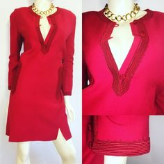 Vintage Oscar De La Renta Size 8 red dress My latest find! A mint condition vintage Oscar De La Renta dress. I haven't started my research yet on the decade it was from. I'm guessing 60's. Anyone want to take a guess!  Size 8, bust 40, hips 40, length 37, 100% wool. No flaws, rips, or stains! Oscar de la Renta Dresses