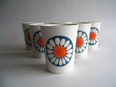 set of 6 figgjo flint norway vintage turi design mugs daisy pattern