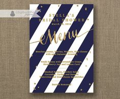 Navy & Gold Menu with Gold Glitter Like by digibuddhaPaperie, $20.00