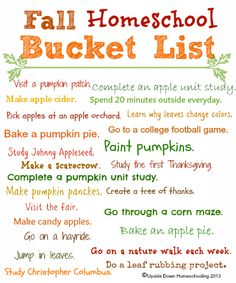 Fun Fall Activities {Weekend Links} Homeschool Fall Bucket List {Free Printable} - {Fall Weekend Links} from Homeschool Kindergarten, Preschool At Home, Online Homeschooling, Preschool Schedule, Daycare Curriculum, Preschool Lessons, Preschool Curriculum Free, Daycare Lesson Plans, Free Homeschool Curriculum