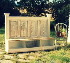 A great way to repurpose an old door as well as create storage! - Dishfunctional Designs: New Takes On Old Doors: Salvaged Doors Repurposed Old Door Projects, Furniture Projects, Home Projects, Diy Furniture, Furniture Design, Outdoor Furniture, Pallet Projects, Garden Furniture, Furniture Vintage